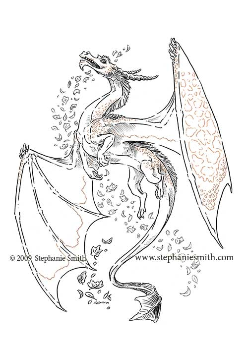 Dragon of Autumn — ink drawing scan