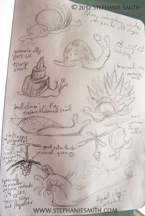 Sketchbook Project 2012: Peculiar Snails and Slugs
