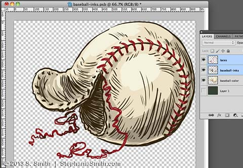 Baseball drawing - Colors