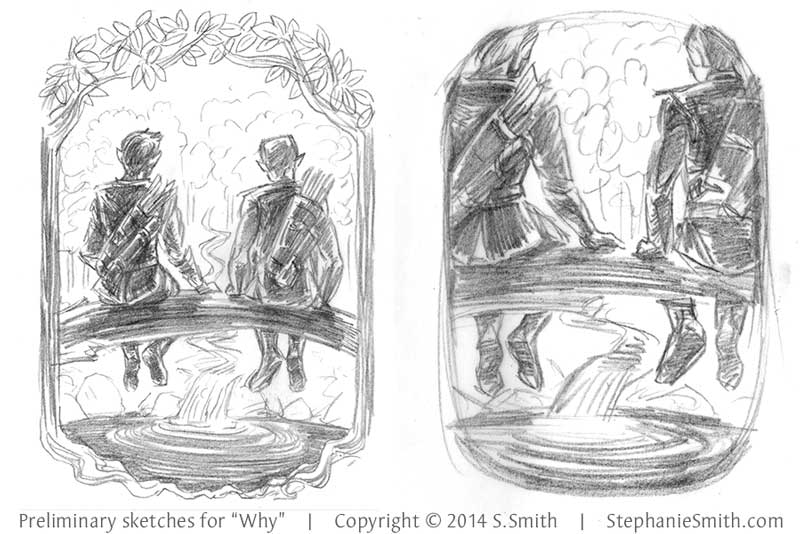 Preliminary client sketches for a commissioned illustration