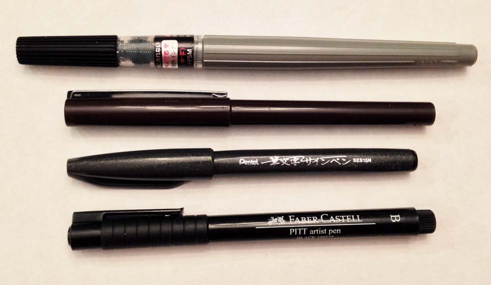 From top to bottom: Pentel Color Brush (Medium, black pigment ink), Pentel Stylo, Pentel Sign Pen, Faber Castel Pitt B